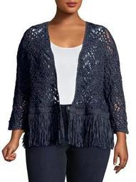 Plus Fiji Waves Fringe Open Cardigan