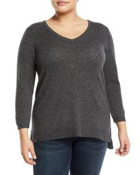 Basic Cashmere V-Neck Sweater - Plus Size, Gray