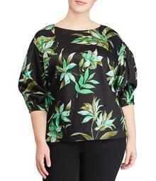 Lauren Ralph Lauren Plus Size Palm Print Bishop-Sleeve Top