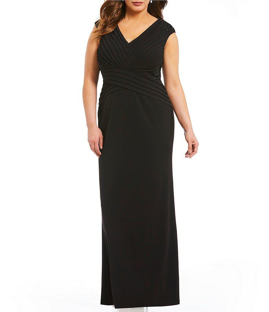 Adrianna Papell Plus Cap-Sleeve Beaded Crepe Gown | Shop Scenes