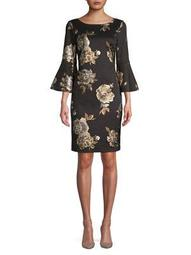 Foil Floral Bell-Sleeve Sheath Dress