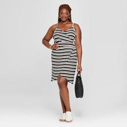 Universal Thread™ Women\'s Plus Size Striped Wrap Front Tank Dress -  Universal Thread™ Black/White - On Sale for $15.38 (regular price: $27.98)