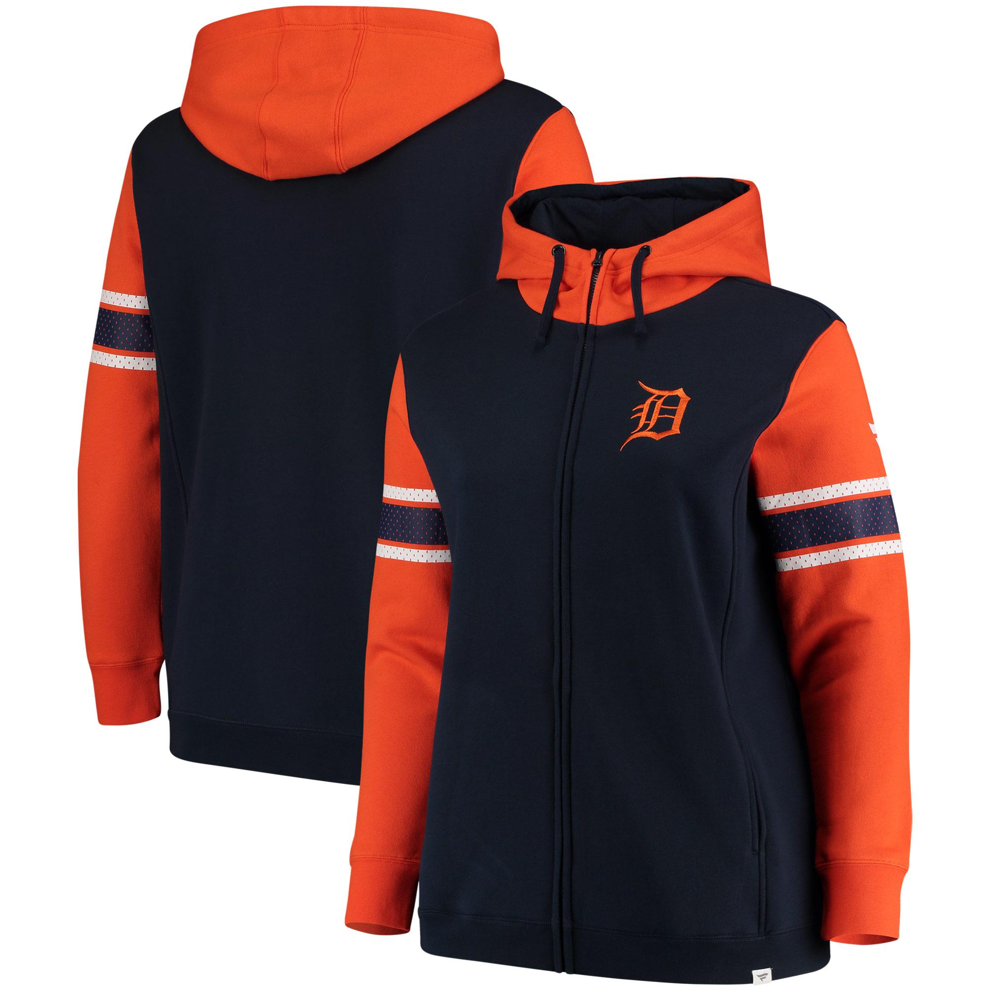 online store 3873a 9fd94 Detroit Tigers Fanatics Branded Women's Plus Size Iconic Fleece Full Zip  Hoodie Navy