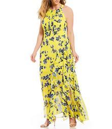 Eliza J Plus Size Floral Print Halter Maxi Dress - $198.00