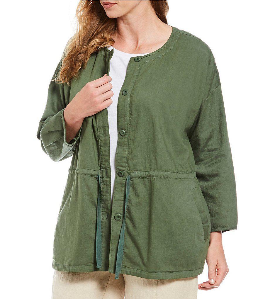 3780864b9c114 Eileen Fisher Plus Size Round Neck Drawstring Jacket