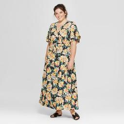 Ava & Viv™ Women\'s Plus Size Floral Print Wrap Maxi Dress - Ava & Viv™  Black - On Sale for $19.24 (regular price: $34.99)