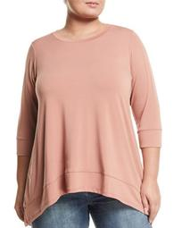 3/4-Sleeve Handkerchief Top, Plus Size