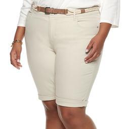 60bdb6f0f8 Kohls Plus Size Gloria Vanderbilt Joslyn Belted Bermuda Jean Shorts