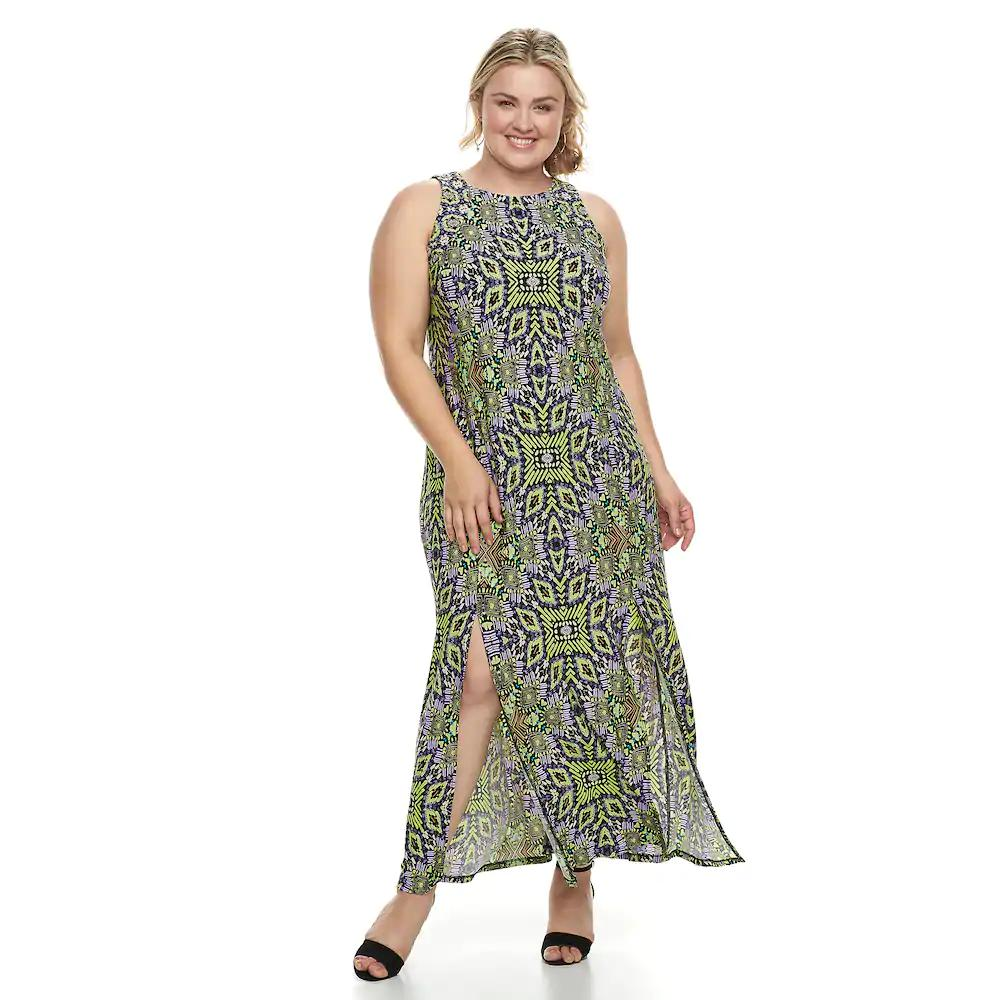 Plus Size Suite 7 Double Slit Maxi Dress