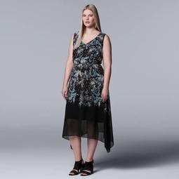 Kohls Plus Size Simply Vera Vera Wang Print Handkerchief Hem Dress  