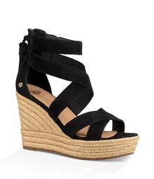 UGG® Raquel Suede Back Zip Tassel Espadrille Wedge Sandals