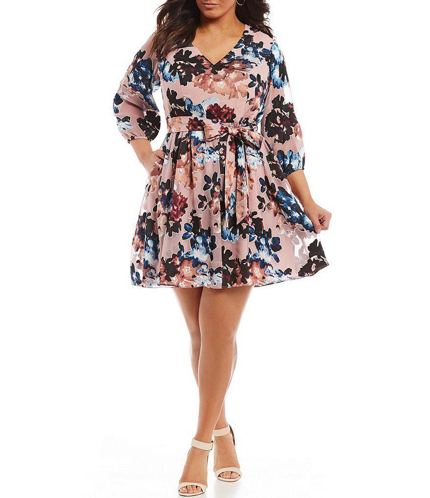 Vince Camuto Plus Size Burnout Floral Fit And Flare Dress