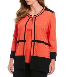 Ming Wang Plus Size Jewel Neck Texture Block Jacket