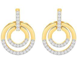 Circle Pierced Earrings, Medium, White, Gold Plating