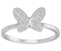 Field Butterfly Ring, White, Rhodium Plating