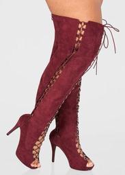 Thigh High Open Toe Boot - Wide Calf, Wide Width