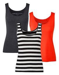 Charcoal Marl/ Black Stripe/ Orange Pack of 3 Tank Tops