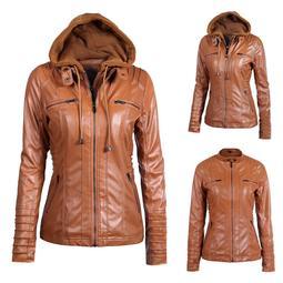 DZT1968® Women Slim Hooded Jacket Overcoat Coat Lapel Removable Zipper Outwear Tops