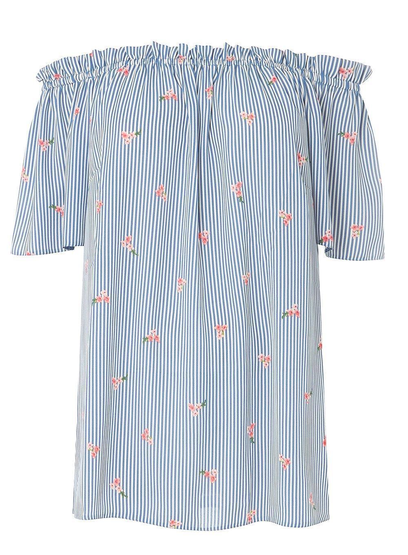 b0e83608e6e69d Dorothy Perkins   DP Curve Blue Stripe and Floral Print Bardot Top
