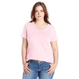 90563049554 Womens Plus-Size Short-Sleeve V-Neck T-Shirt - Paleo Pink, 1X