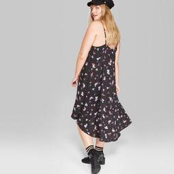 Wild Fable™ Women\'s Plus Size Floral Print Strappy Hi-Low Hem Midi Dress -  Wild Fable™ Black - On Sale for $26.60 (regular price: $28.00)