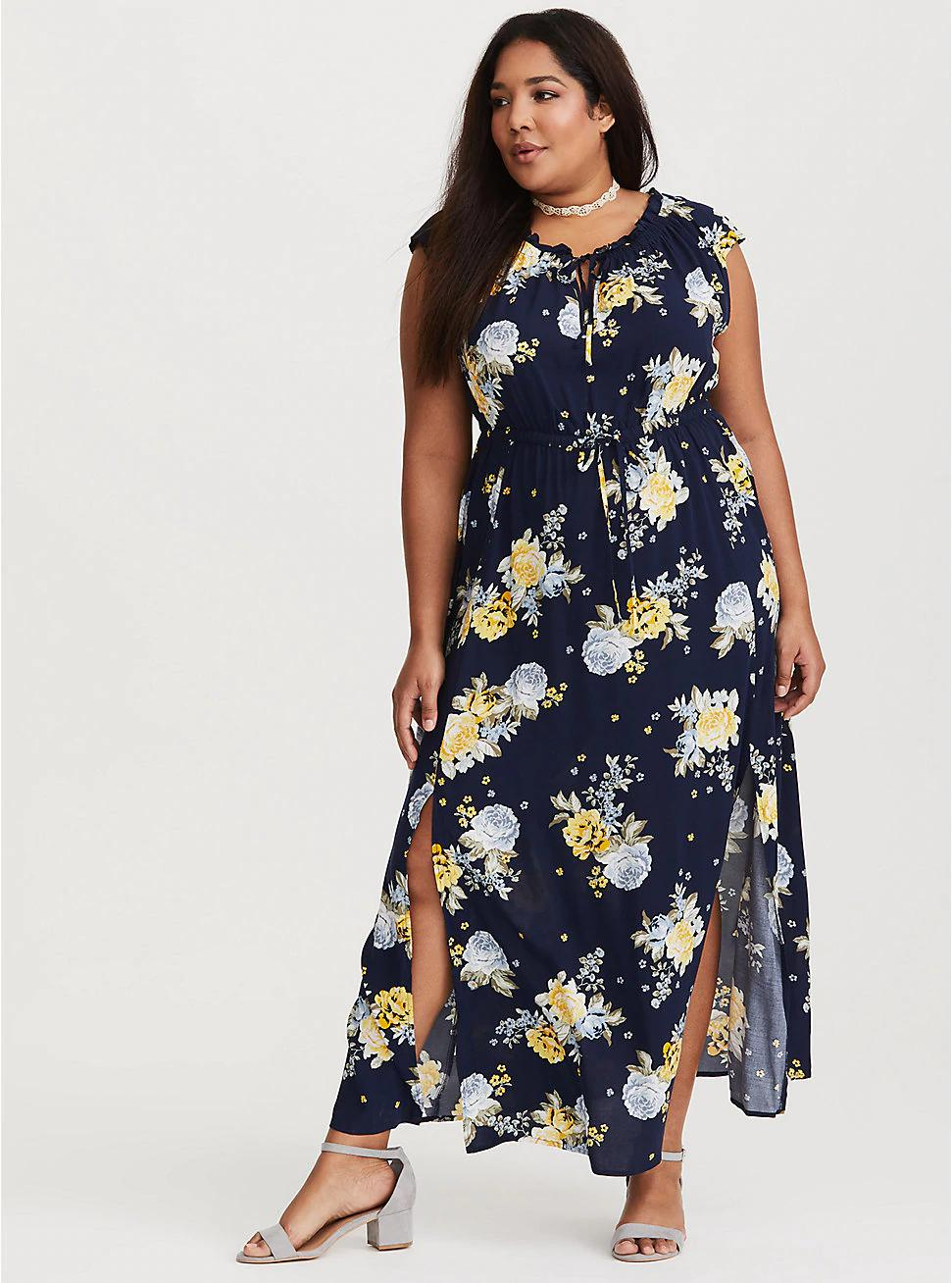 852f42c82b0 Navy Floral Tie Front Challis Maxi Dress
