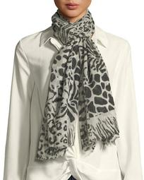 Animal Print Sheer Wool Scarf