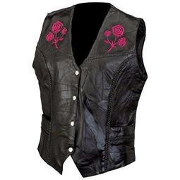 Live ride rock Ladies Rock Design Genuine Buffalo Leather Vest 5x Black