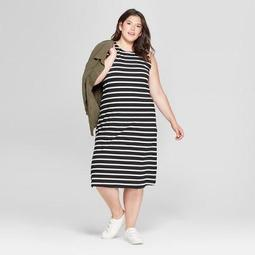 A New Day™ Women\'s Plus Size Striped Sleeveless Knit Maxi Dress - A New  Day™ Black/Cream - On Sale for $11.24 (regular price: $24.98)