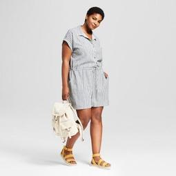 Women's Plus Size Striped Camp Shirt Romper - Universal Thread™ Blue