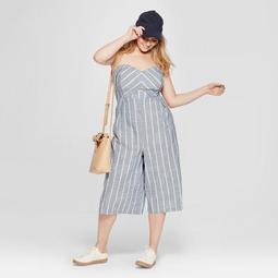 Women's Plus Size Striped Tube Jumpsuit - Universal Thread™ Blue