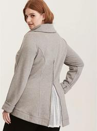 Asymmetrical Zip Mesh Inset Open Back Active Jacket