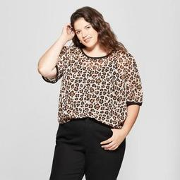 Women's Plus Size Leopard Print Short Sleeve Woven T-Shirt - A New Day™ Beige/Black/Brown