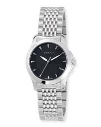 27mm G-Timeless Small Stainless Steel Bracelet Watch, Black