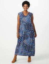 Dressbarn Plus Size Printed Puff Print Maxi Dress - On Sale for $42.99  (regular price: $54.95)