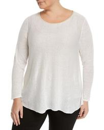 Bateau Sequin-Collar Sheer Sweater, Plus Size