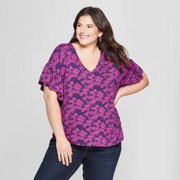 Women's Plus Size Floral Print V-Neck Ruffle Short Sleeve T-Shirt - Ava & Viv™ Purple