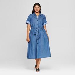 Who What Wear Women\'s Plus Size Short Sleeve Denim Midi Shirt Dress - Who  What Wear™ Medium Wash - On Sale for $35.14 (regular price: $36.99)