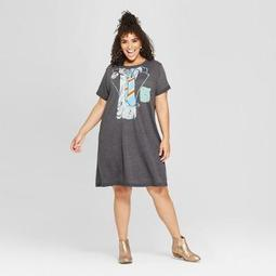 Junk Food Women's Plus Size ACDC Short Sleeve Tie Graphic T-Shirt Dress - Black
