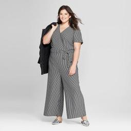 A New Day Womens Plus Size Striped Knit Jumpsuit A New Day Blackwhite On Sale For 3324 Regular Price 3499