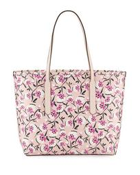 Ariana Medium Floral Saffiano Open Tote Bag