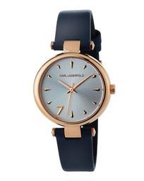 34mm Aurelie Leather Watch, Rose/Navy