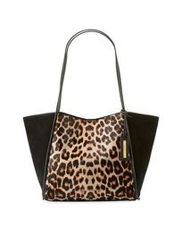 Alan Large Leopard-Print Shoulder Tote Bag
