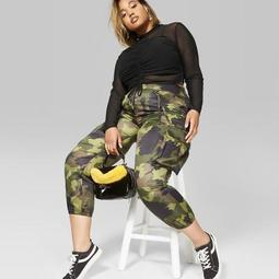on feet at men/man new arrivals Wild Fable™ Women's Plus Size Camo Print Cargo Pants - Wild Fable™ Green -  On Sale for $28.50 (regular price: $30.00)