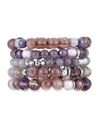Beaded Stretch Bracelets, Set of 5