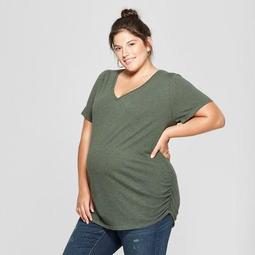 38bf10080b9 Maternity Plus Size Short Sleeve Shirred V-Neck T-Shirt - Isabel Maternity  by