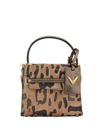 Animal-Print Fur Top Handle Bag