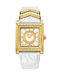 30mm DV-25 Square Watch w/ Diamonds & Leather Strap, White/Golden