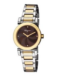 31mm Two-Tone Bracelet Watch w/ Mother-of-Pearl Dial & Diamonds, Brown