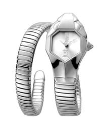 22mm Glam Chic Coiled Snake Bracelet Watch, Silver
